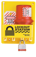 #S1745E3 Compact Electrical Lockout Station. Shown with #3RED Steel Padlock. Other padlocks abailable