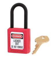 #406 Safety Thermoplastic Lockout Padlock. Nylon Shackle
