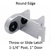 "Inswing strike & keeper for ROUND edged bathroom stall. ""Half-high"""