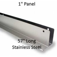 "One Ear Continuous Wall Bracket for Bathroom Stall Repair. 1"" Panel. Stainless Steel, 57"" Long"