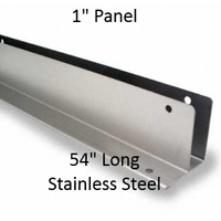 "One Ear Continuous Wall Bracket for Bathroom Stall Repair. 1"" Panel. Stainless Steel, 54"" Long"