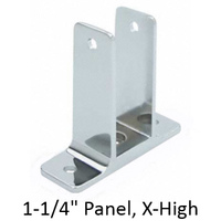 "Chrome plated two ear bracket for 1-1/4"" bathroom stall panel. Extra high"