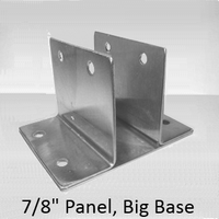 "Two ear wall bracket for 7/8"" bathroom stall panel. Large base"