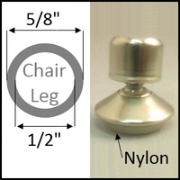 "Swivel chair glide for round legs with O.D. 5/8"" and I.D. 1/2"""