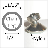 "Swivel chair glide for round legs with O.D. 11/16"" and I.D. 1/2"""