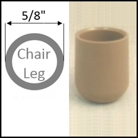"Plastic chair glide cap for folding chairs. Round leg with 5/8"" O.D."