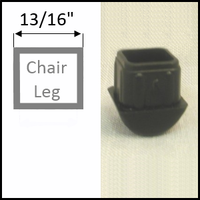Rocker chair glide for stackable chairs with square legs of O.D. 13/16""