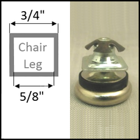 "Swivel glide for chairs with square tubing legs. Leg O.D. 3/4"", I.D. 5/8"""