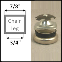 "Swivel glide for chairs with square tubing legs. Leg O.D. 7/8"", I.D. 3/4"""