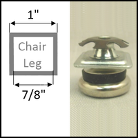 "Swivel glide for chairs with square legs. Leg O.D. 1"", I.D. 7/8"""
