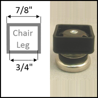 "Swivel glide for chairs with square legs. Leg O.D. 7/8"", I.D. 3/4"""