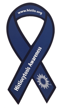Histio Ribbon Magnet is in the shape of a blue ribbon and features the histio burst, Association's website, and awareness phrase.