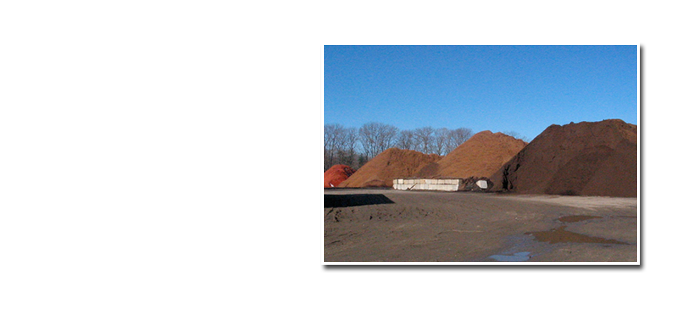 Photos of bark mulch piles.