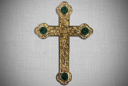 Jeweled Gold Cross and Chain with Green