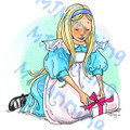 Alice with Present and Bow