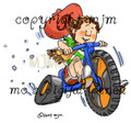 Cowboy kid rides his three wheeler!