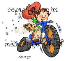 Cowboy kid rides his three wheeler!