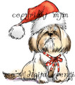 Lhasa Apso with Santa Hat