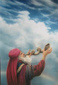 Hebrew priest blowing shofar