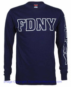 FDNY Outline Navy LS Tee - front