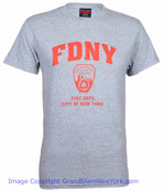FDNY Full Chest Ash / Red Tee