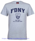 FDNY Distressed Ash / Navy Tee