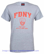 FDNY Distressed Ash / Red Tee