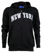 New York Black Zipper Hoodie