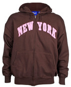 New York Brown / Pink Zipper Hoodie