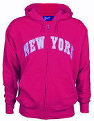New York Fuschia Zipper Hoodie