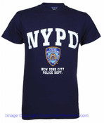 NYPD Full Chest Color Shield Navy Tee