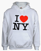 I Love NY White Hooded Sweatshirt