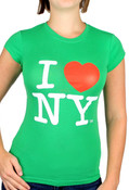 Green I Love NY Fitted Tee Shirt