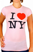 Pink I Love NY Fitted Tee Shirt