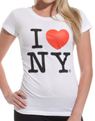 White I Love NY Fitted Tee Shirt