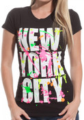 New York City Block w/ Splatter Ladies Black Tee