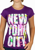 New York City Block w/ Splatter Ladies Purple Tee
