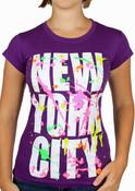 New York City Block w/ Splatter Ladies Purple Tee
