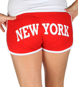 Red New York Hi-Cut Shorts - butt