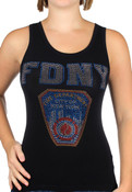 FDNY Tank Top - Black Ladies Rhinestone Tank