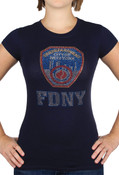 FDNY Rhinestones Ladies T-Shirt - Navy