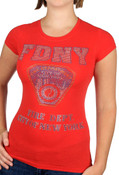 FDNY Rhinestones Ladies T-Shirt - Red