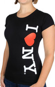 I Love NY Vertical Ladies Black Cap Tee