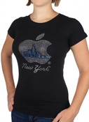 NYC Apple with Blue Skyline Rhinestone Cap Tee
