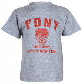 FDNY w/Shield Full Chest Ash Kids Tee