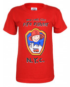 Fire Fighter Cartoon Red Kids Tee