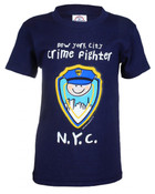 NYC Crimefighter Cartoon Navy Kids Tee