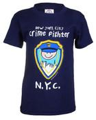 NYC Crimefighter Cartoon Navy Kids Tee