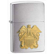 Navy Officer Emblem Brushed Chrome Zippo