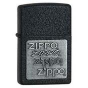 Zippo Pewter Emblem Black Crackle Zippo